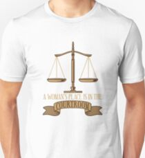 A Woman's Place Is In The Courtroom - Funny Lawyer Gift Slim Fit T-Shirt