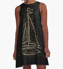 Sailing boat boat sail golden ornament Gold A-Line Dress