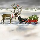 Newfie pulling wagon with Christmas tree by Patricia Reeder Eubank