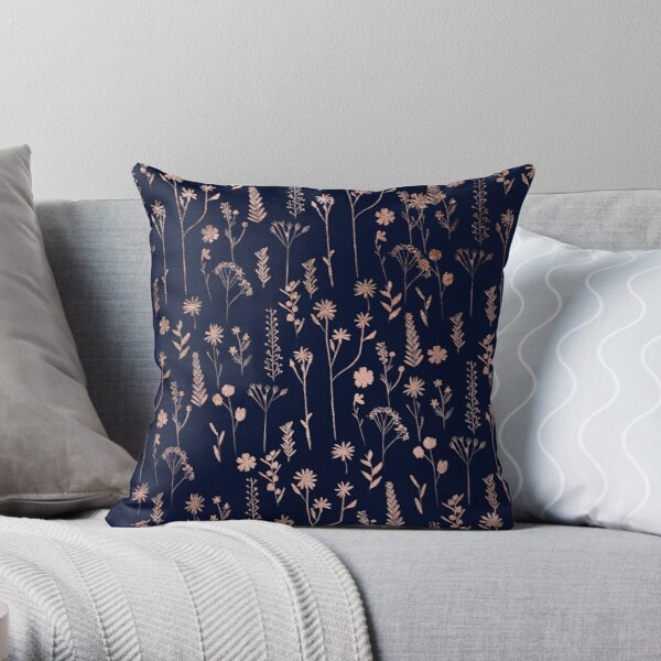 Hand drawn rose gold cute dried pressed flowers illustration navy blue Throw Pillow