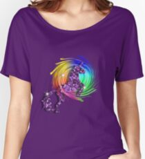 Sparkly Glittery Effect Purple Unicorn And Rainbow Women's Relaxed Fit T-Shirt