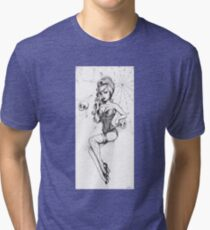 Black Widow pinup, cobwebs and skulls Tri-blend T-Shirt