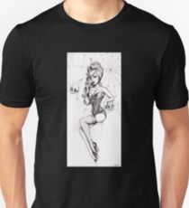 Black Widow pinup, cobwebs and skulls Unisex T-Shirt