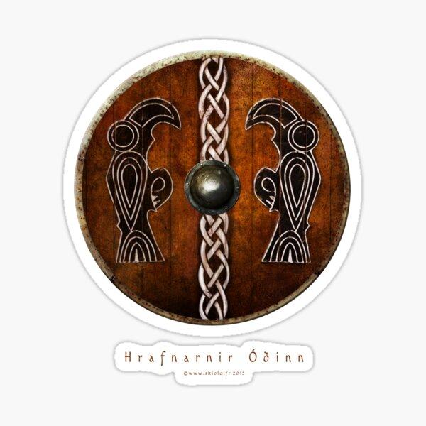 Bouclier Viking Corbeaux d'Odin Huginn & Muninn Sticker