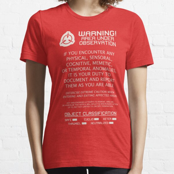 SCP Foundation WARNING Signage - White Text Essential T-Shirt