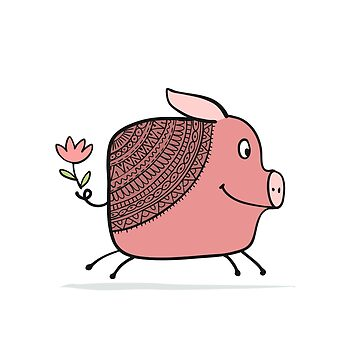 Cute piggy ornate silhouette, symbol of 2019 year for your design by Kudryashka
