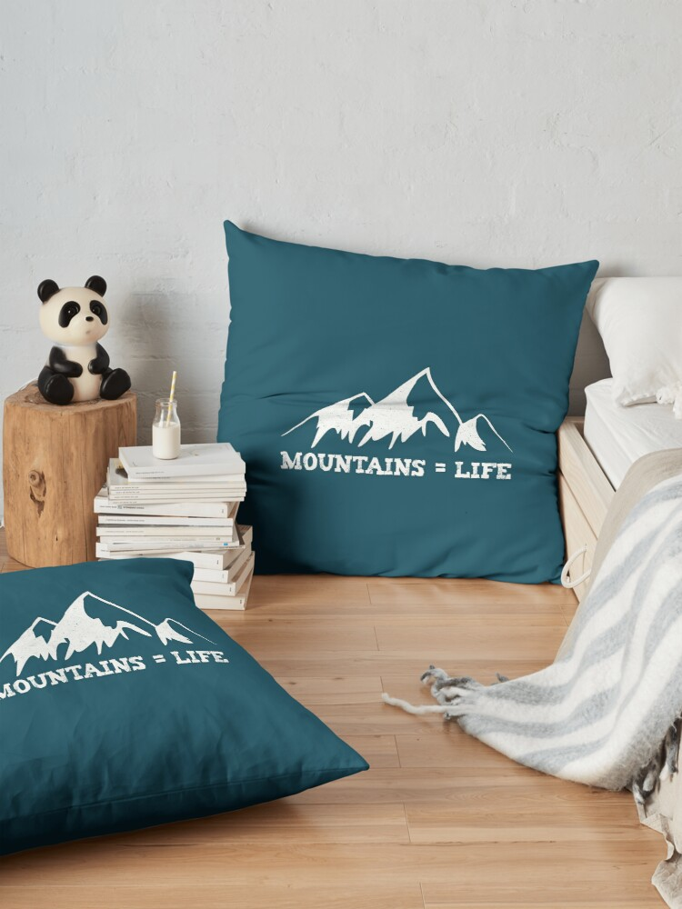 Alternate view of Mountains = life Floor Pillow