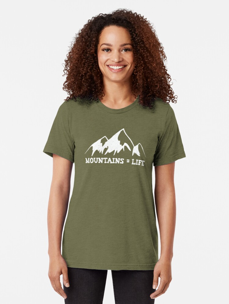 Alternate view of Mountains = life Tri-blend T-Shirt
