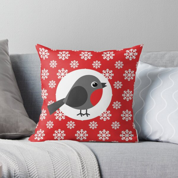 Christmas / Winter Robin Snowflakes Red Throw Pillow