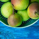 Pears on a Blue Table by OLIVIA JOY STCLAIRE