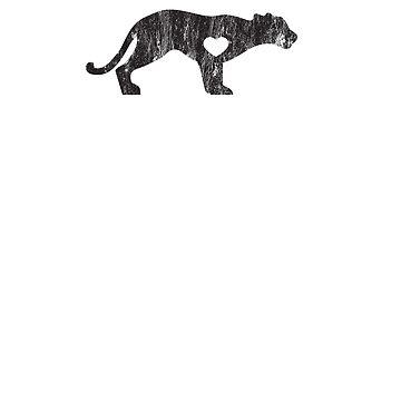 Cougar Mountain Lion Puma Big Cat Sports Mascot I Love Cougar Big Cats Black Distressed by zot717