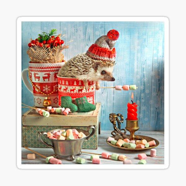 Christmas Hedgehog by Elena Eremina Sticker