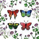 Butterflies Wildflowers Collection In Watercolor by Irina Sztukowski