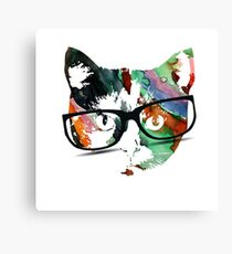 Hipster calico kitty cat Canvas Print