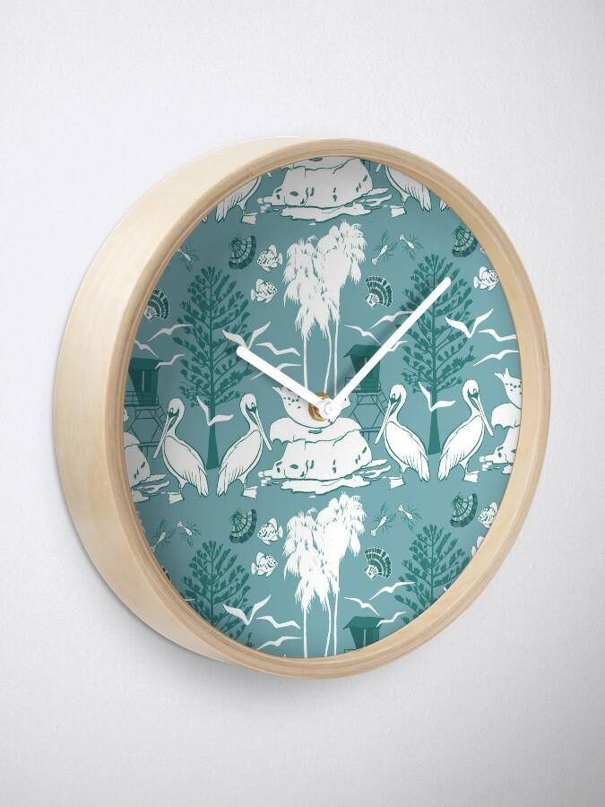 Alternate view of La Jolla Damask Aqua Clock