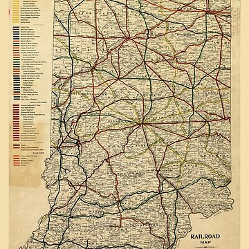 Railroad Map of Indiana (1896) by allhistory