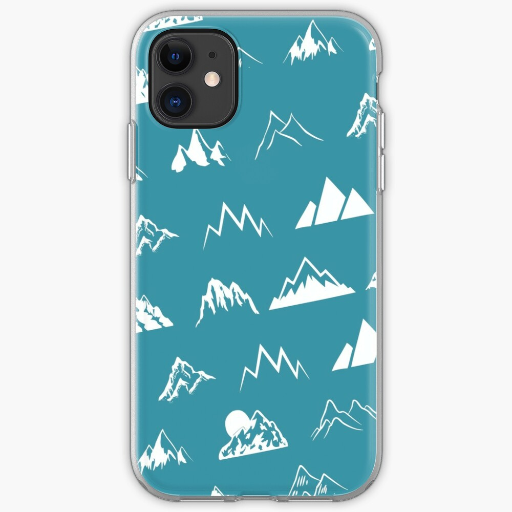 Mountains all over - turquoise iPhone Case & Cover