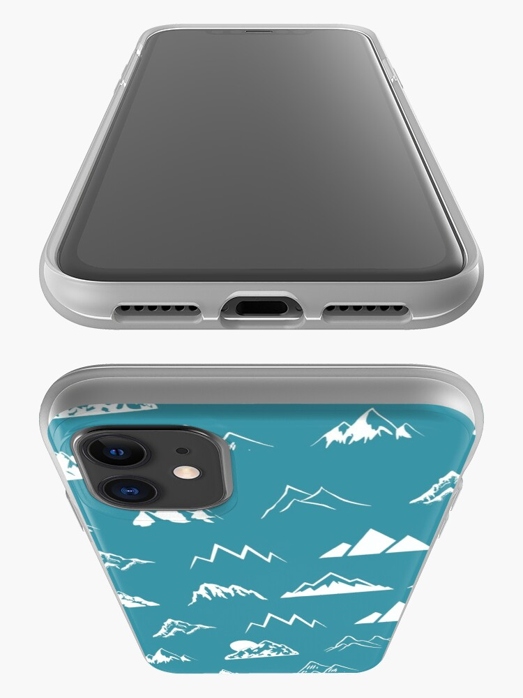 Alternate view of Mountains all over - turquoise iPhone Case & Cover