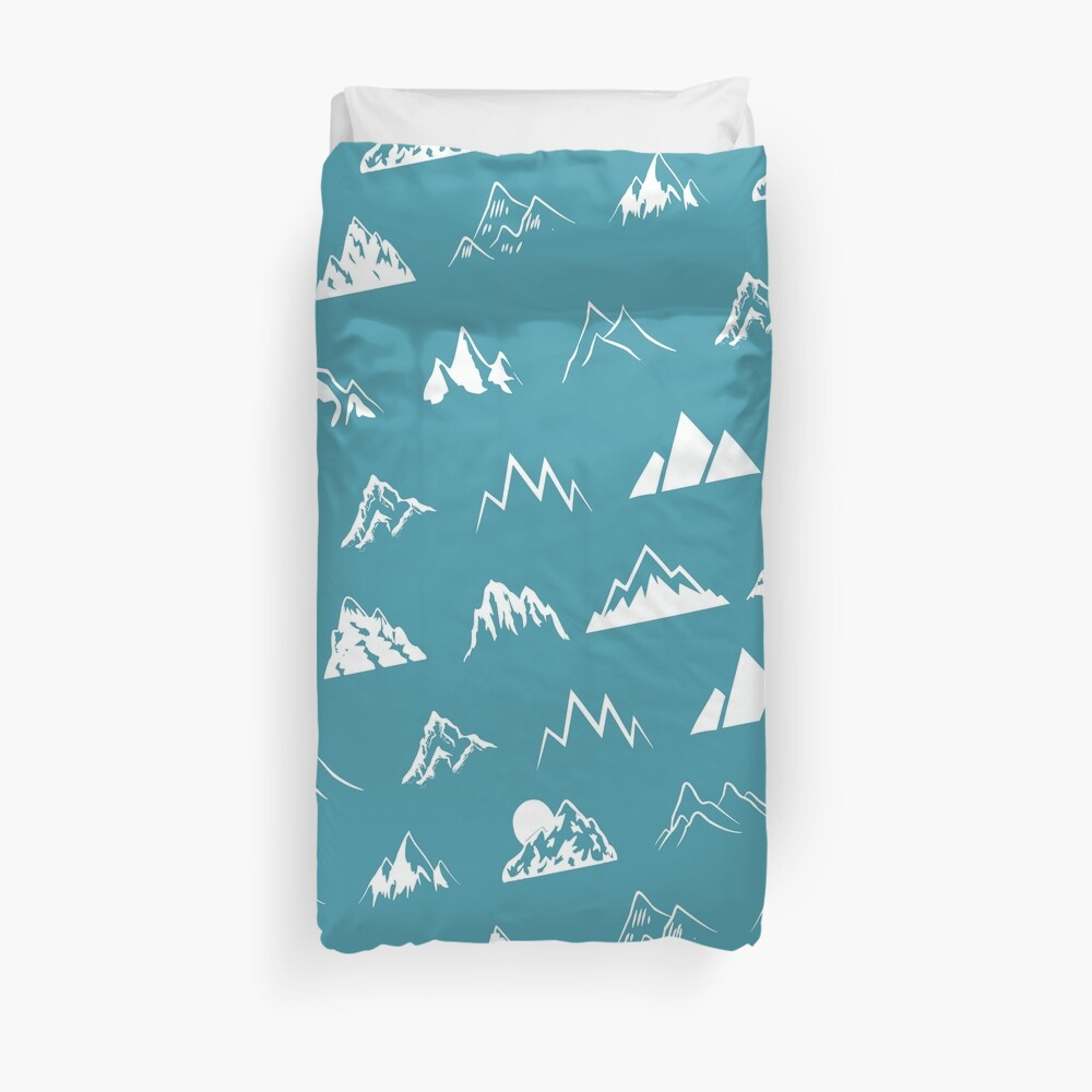 Mountains all over - turquoise Duvet Cover