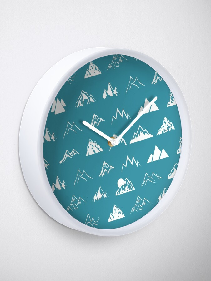 Alternate view of Mountains all over - turquoise Clock
