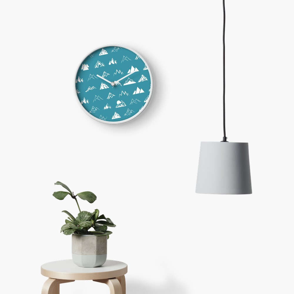 Mountains all over - turquoise Clock