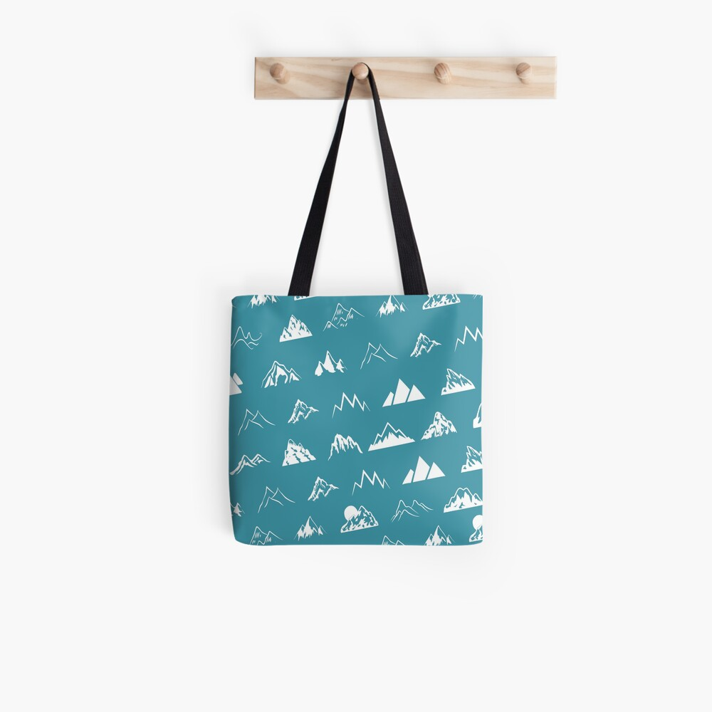 Mountains all over - turquoise Tote Bag