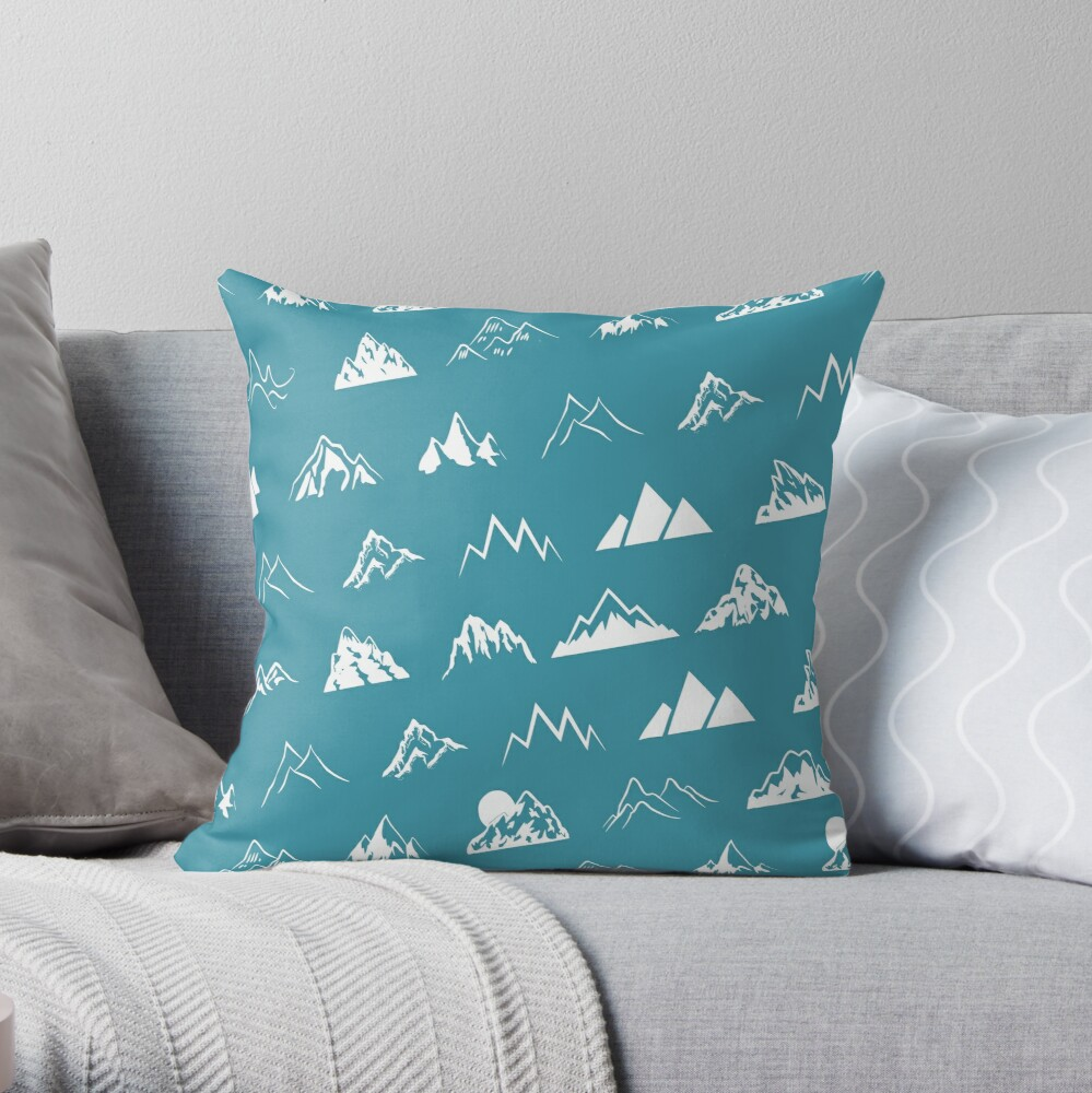 Mountains all over - turquoise Throw Pillow