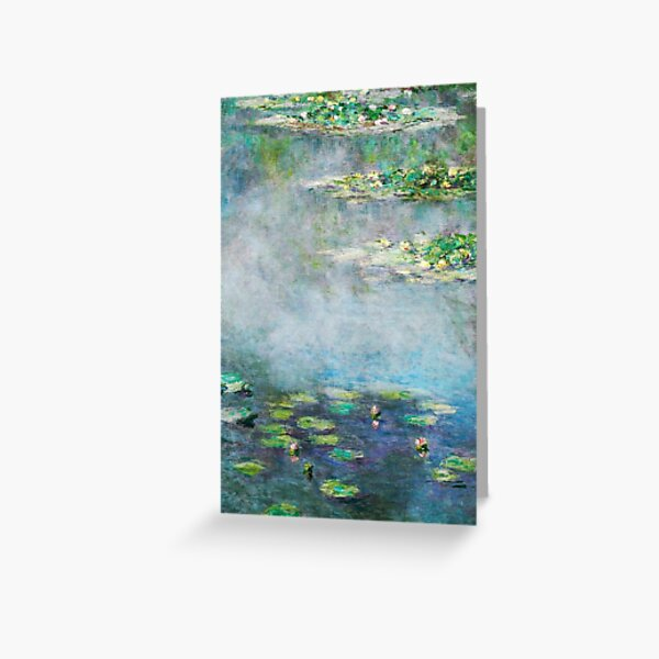 1906 Water Lilies oil on canvas.  Famous vintage fine art by Claude Monet. Greeting Card