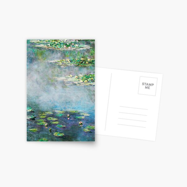 1906 Water Lilies oil on canvas.  Famous vintage fine art by Claude Monet. Postcard