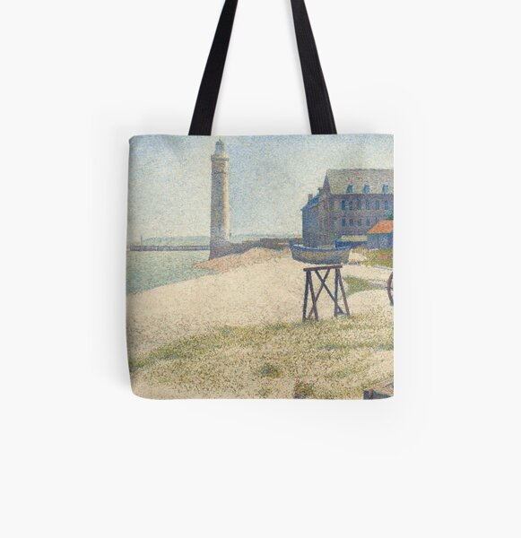 Georges Seurat, The Lighthouse at Honfleur, 1886 Painting All Over Print Tote Bag