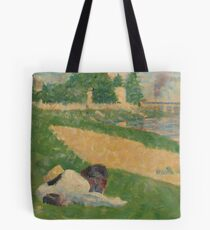 """Georges Seurat, The Seine with Clothing on the Bank (Study for """"Bathers at Asnières""""), 1883/1884 Painting Tote Bag"""