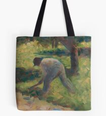 Georges Seurat, Peasant with a Hoe, 1882 Painting Tote Bag