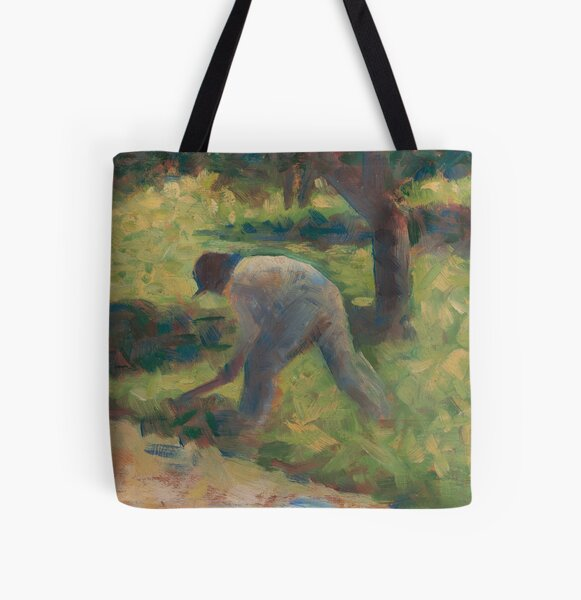 Georges Seurat, Peasant with a Hoe, 1882 Painting All Over Print Tote Bag