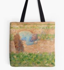 Georges Seurat, Man with a Hoe, 1882 Painting Tote Bag