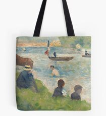 """Georges Seurat, Horse and Boats (Study for """"Bathers at Asnières""""), 1883/1884 Painting Tote Bag"""