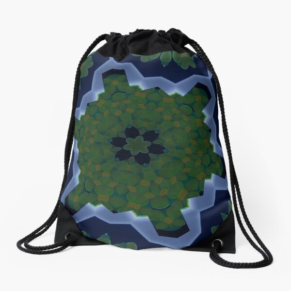Peas and Ice Pedals Circle Design Offering at Green Bee Mee Drawstring Bag