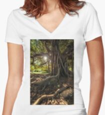Light through the canopy Women's Fitted V-Neck T-Shirt