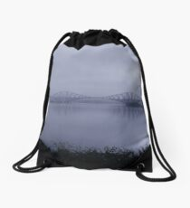 Misty Fife View of the Forth Bridges Drawstring Bag