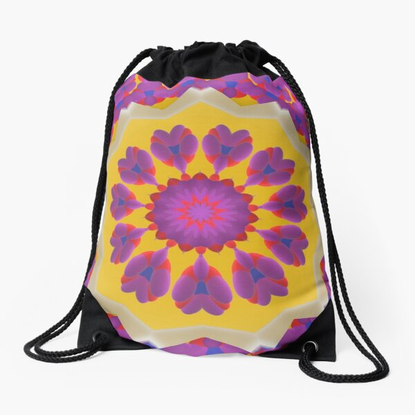Purple Pedals 3D in the Sun Design Offering at Green Bee Mee Drawstring Bag