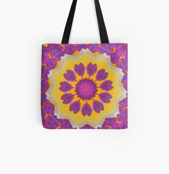 Purple Pedals 3D in the Sun Design Offering at Green Bee Mee All Over Print Tote Bag