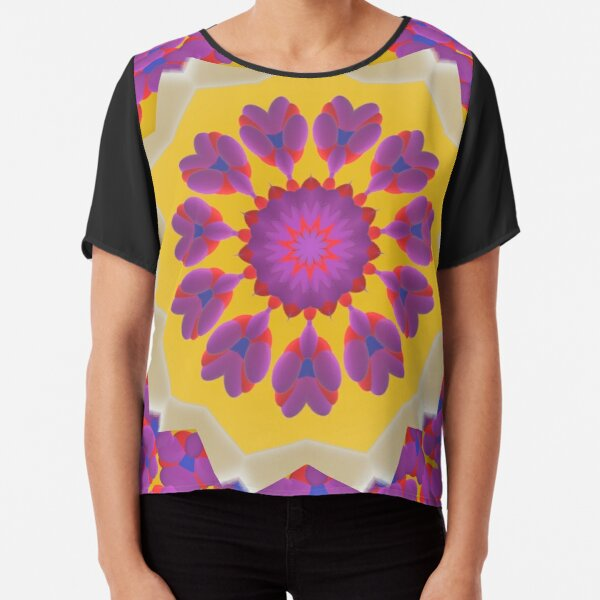 Purple Pedals 3D in the Sun Design Offering at Green Bee Mee Chiffon Top