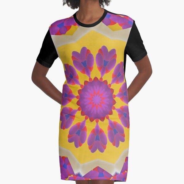 Purple Pedals 3D in the Sun Design Offering at Green Bee Mee Graphic T-Shirt Dress