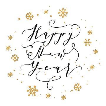 Feliz año nuevo cita en etiqueta, tarjeta, impresión de natakuprova