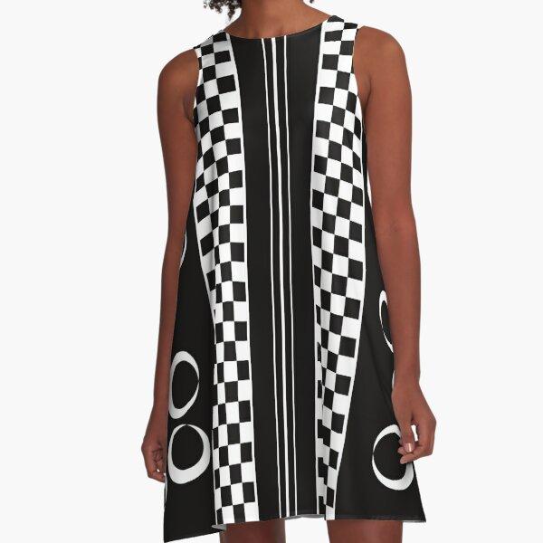 Schwarz Weiß Karo Muster A-Linien Kleid