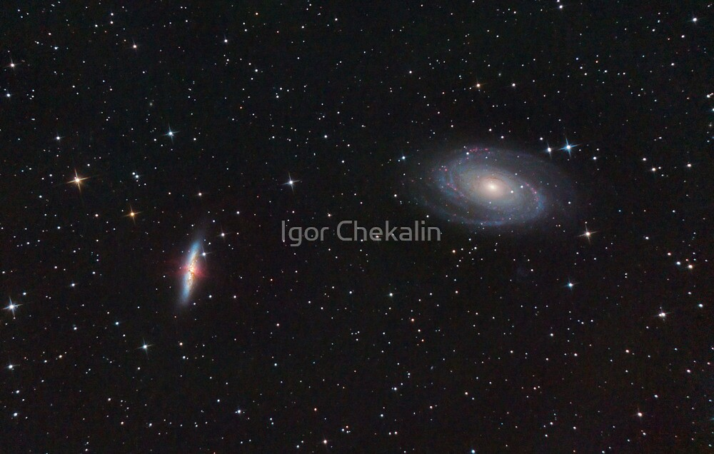 """M81 and M82. Classic Spiral and """"Exploding"""" galaxy in Ursa Majoris. by Igor Chekalin"""