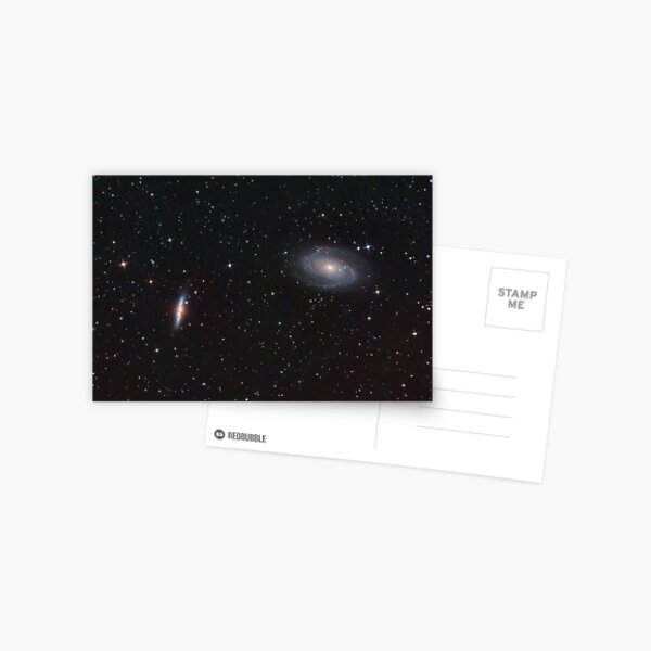 """M81 and M82. Classic Spiral and """"Exploding"""" galaxy in Ursa Majoris. Postcard"""