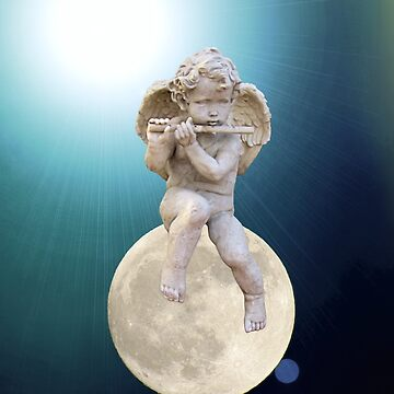 Child Angel Cherub Playing a Flute on Moon A259 by byNicol