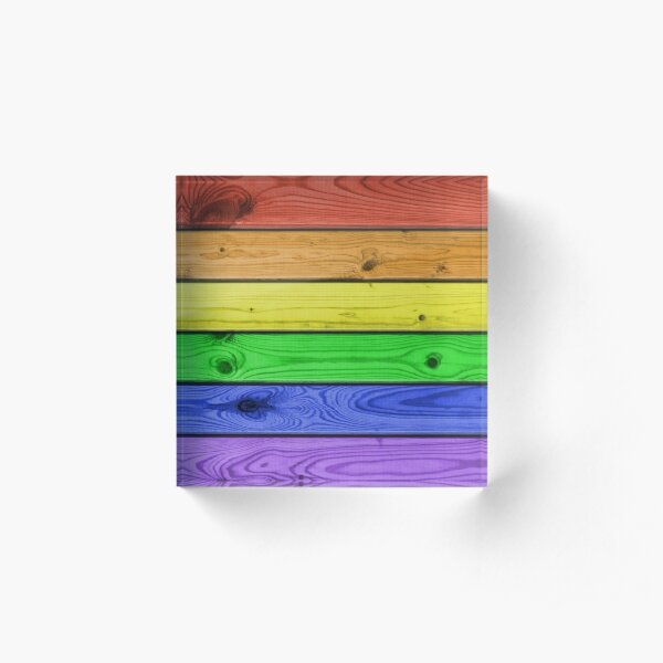 Rainbow Pride Wood Planks Acrylic Block