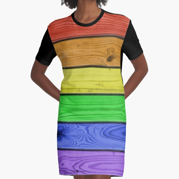 Rainbow Pride Wood Planks Graphic T-Shirt Dress