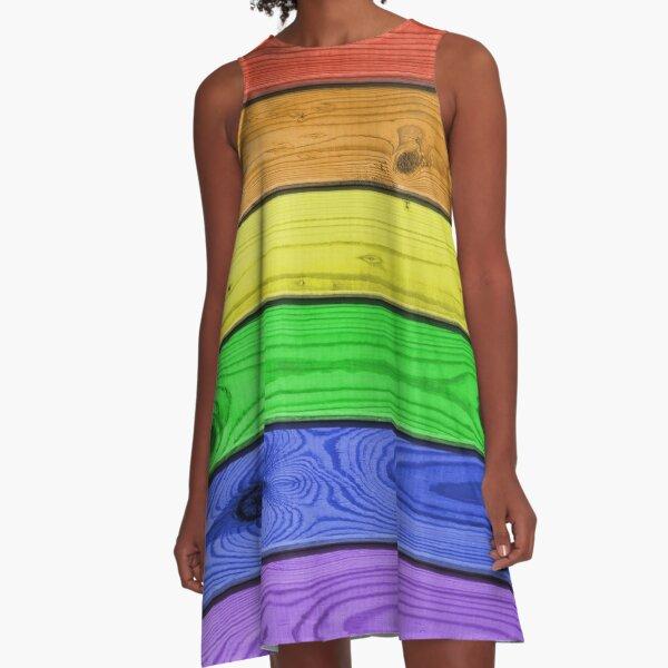 Rainbow Pride Wood Planks A-Line Dress